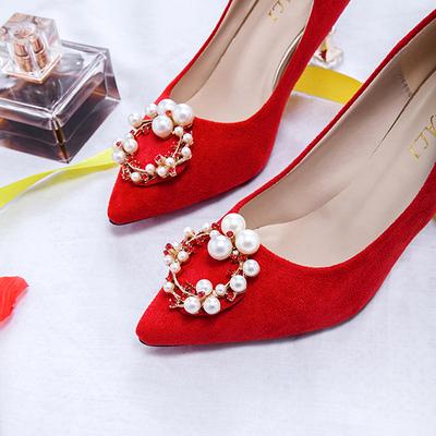 大红色婚鞋女高跟单鞋女新娘结婚鞋时尚秀禾鞋5CM和7CM配婚纱鞋子
