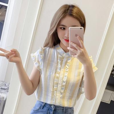 条纹衬衫女夏季2018新款超仙甜美木耳荷叶边短袖棉麻上衣洋气小衫
