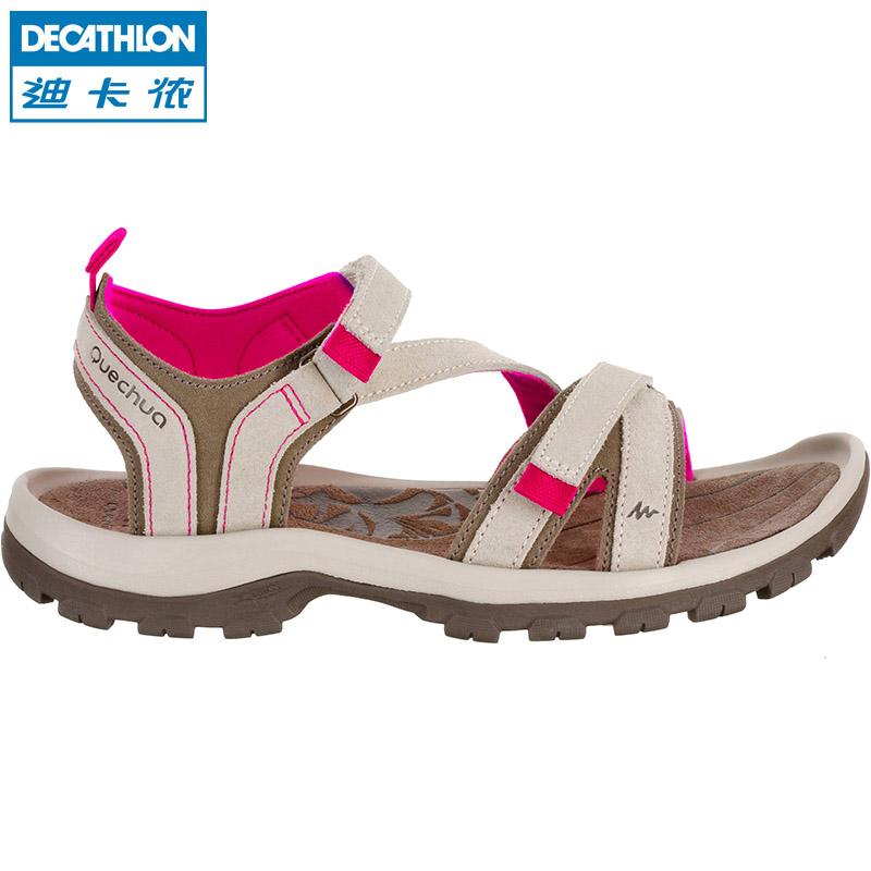迪卡侬凉鞋女夏季休闲女童运动户外防滑平底沙滩鞋女士大码QUS