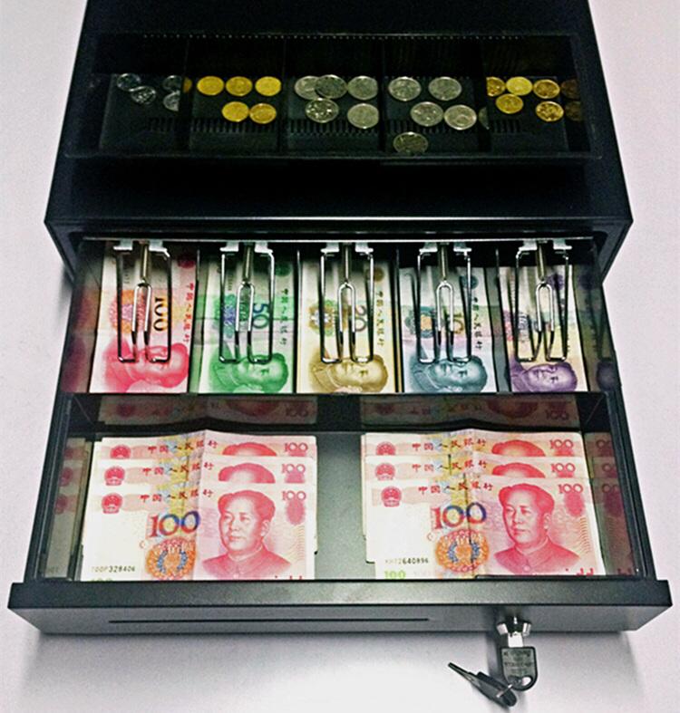 405五格三档钱箱 收银箱超市钱箱盒可独立用收款机钱柜抽屉式带锁
