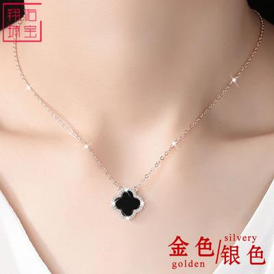 925纯银四叶草项链女网红短款颈带黑玛瑙幸运草锁骨链送女友礼物