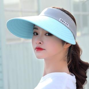 帽子女夏天休閑遮陽帽大沿騎車防曬太陽帽可折疊空頂帽戶外便攜帽