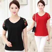25夏装纯棉短袖T恤30几35到40多50岁中年女士大码妈妈装上衣服装