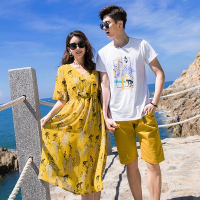 不一样的情侣装夏装2018新款韩范连衣裙气质夏季男女度假沙滩潮装