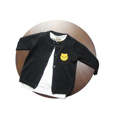 日系春夏薄款儿童宝宝男童女童纯棉针织开衫薄款小熊刺绣毛衣外套评测