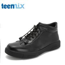 Teenmix/天美意冬商场同款黑色牛皮革男休闲靴运动靴2KM01DD8图片