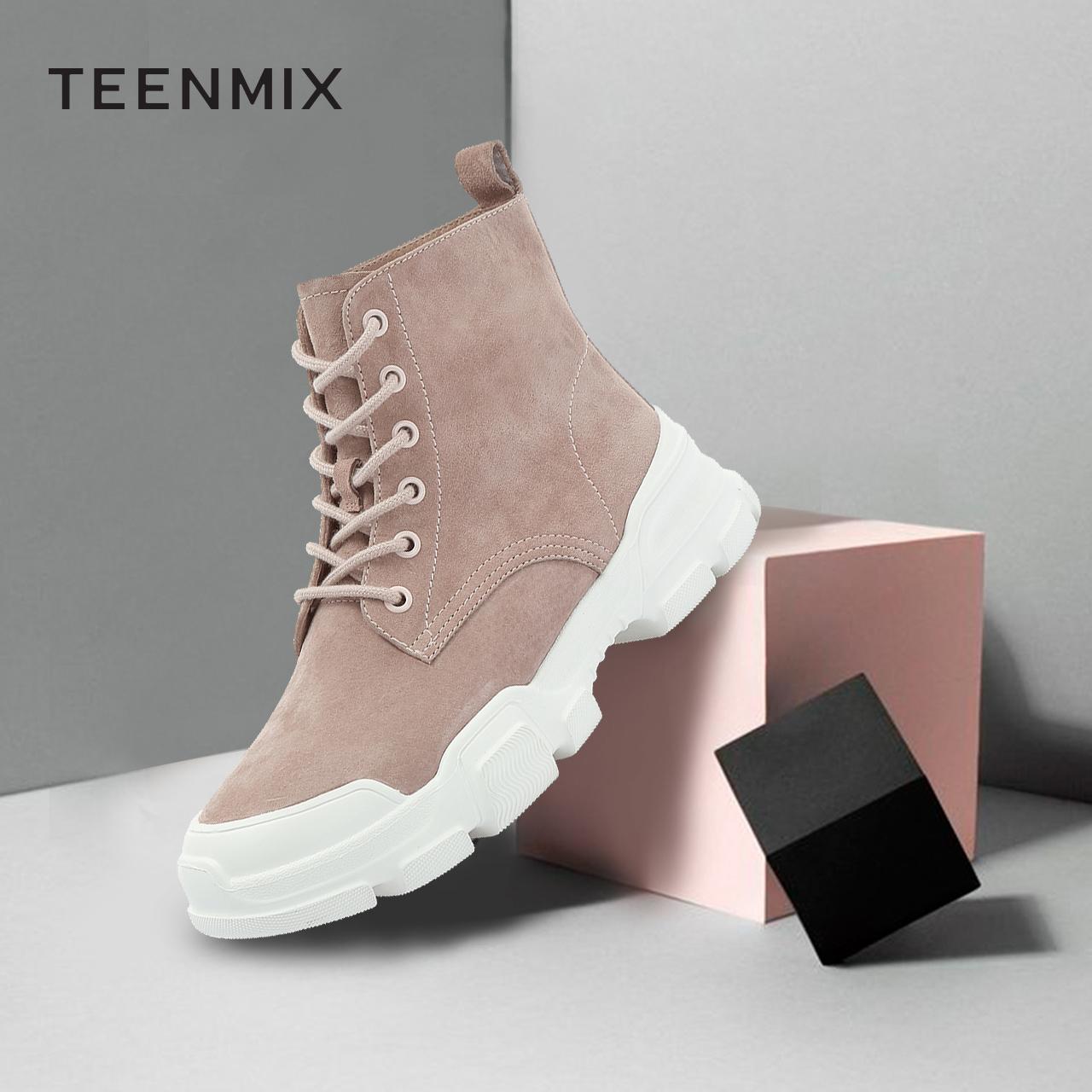 天美意街头马丁靴女平底休闲风纯色短筒靴冬季新款18403DD8