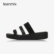 天美意夏季新款商场同款一字型平底坡跟女凉鞋拖鞋6Z915BT7