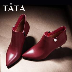 TATA/他她冬牛皮珍珠尖头及踝靴高跟女皮靴XH388DD7