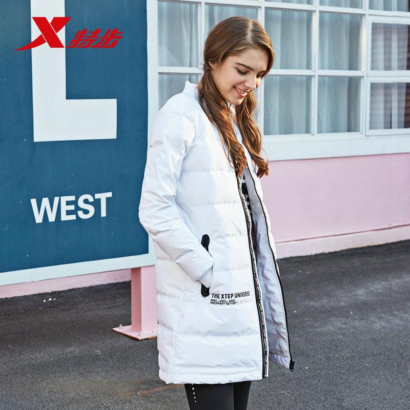特步女休闲羽绒服正品冬季新款时尚都市潮流保暖舒适女子长款外套