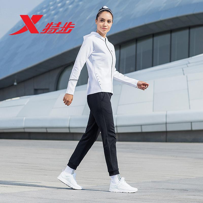 特步2018秋季新款运动服简约时尚运动休闲针织套装女装