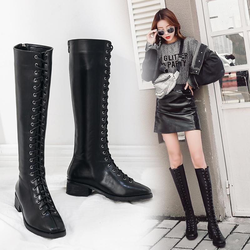 2018新款系带长筒靴女冬季粗跟骑士靴低跟高筒靴加绒朋克长靴女靴