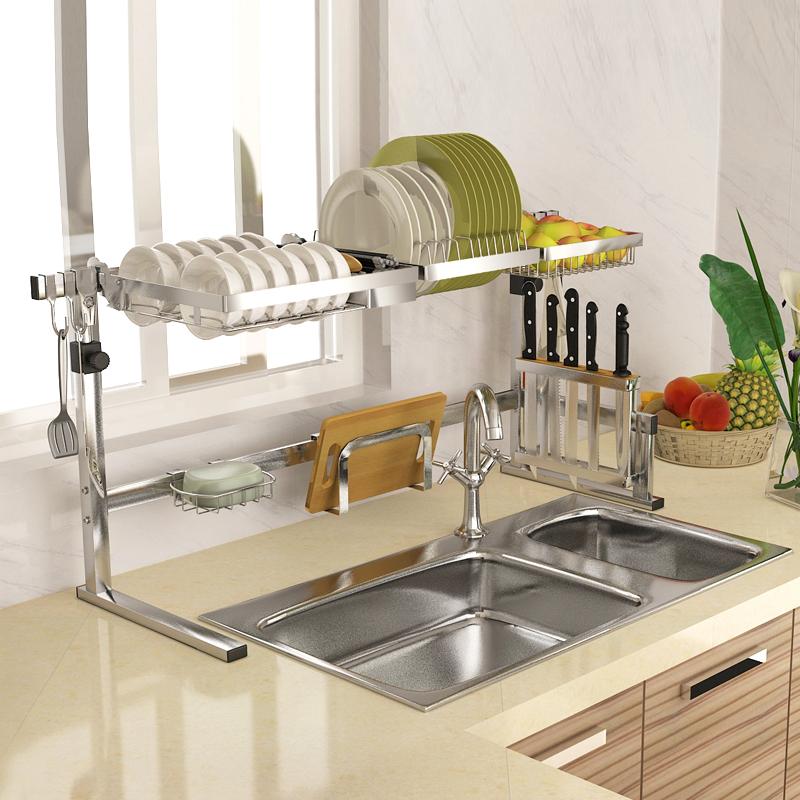 水池沥水架水槽置物架厨房碗架不锈钢放碗架碗碟架家居用品收纳篮