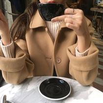 163冬季新款女装中长喇叭袖羊毛呢大衣女2018莫0522包邮