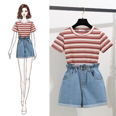 牛仔裤搭配套装女夏装2019新款洋气时尚小香风短袖短裤两件套夏天