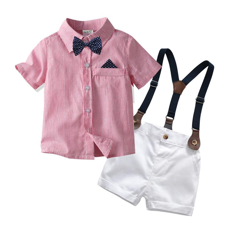 男童粉色短袖衬衫领结背带短裤套装潮夏帅气花童婚礼服装表演出服