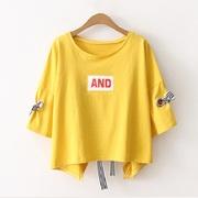 韩版大码女装夏胖mm短袖t恤女 性感上衣女半袖露背系带宽松学生装