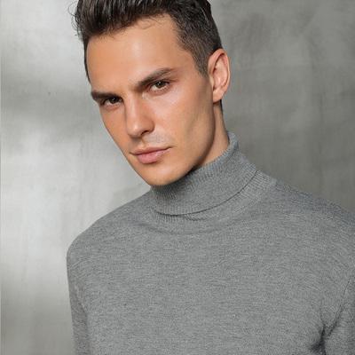 18新款正品男高领翻领羊绒衫羊毛衣套头修身纯色打底短款针织特价