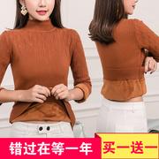 半高领加绒毛衣中年女加厚套头针织打底衫羊绒衫短款长袖保暖衣