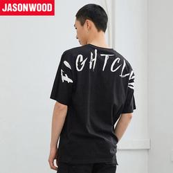 Jasonwood/坚持我的18新款潮男街头宽松T恤背部印花帅气短袖夏
