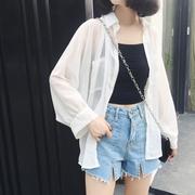 沙滩防晒衣女夏季雪纺开衫薄2018新款韩版中长款大码披肩外搭外套