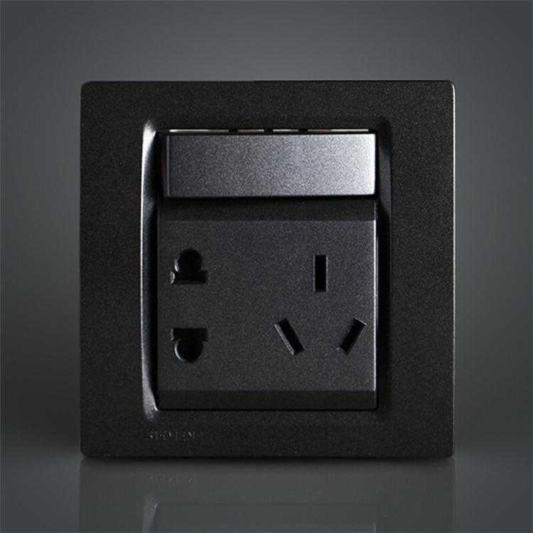 西门子开关面板西门子开关插座灵动系列金属黑色一开五孔插座