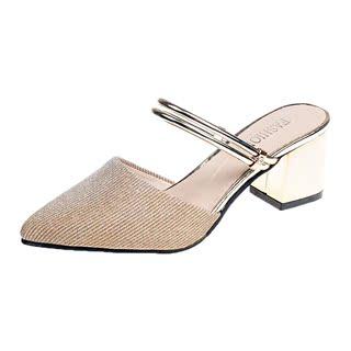 凉鞋拖鞋两穿女夏季2019新款韩版显瘦粗跟高跟鞋尖头性感女鞋子潮