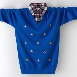 春秋新款男童假两件针织衫纯棉儿童毛衣全棉中大童衬衫领外套童装