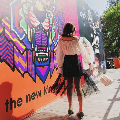 余潇潇春装2018新款黑色修身显瘦钉珠网纱双层长款半身裙女