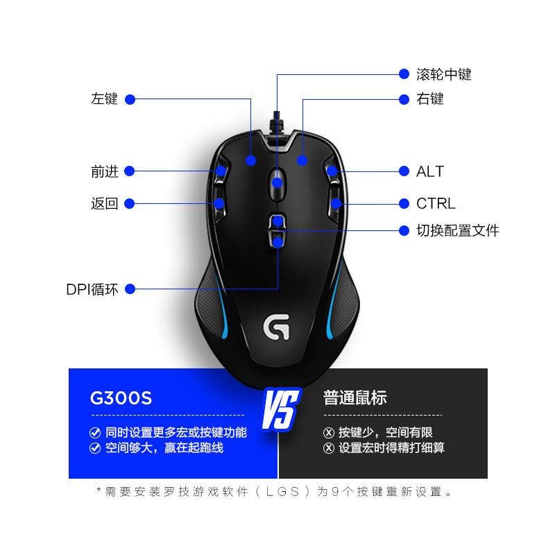 罗技G300S有线游戏鼠标 电竞机械CF绝地求生吃鸡英雄联盟LOL宏笔记本台式苹果电脑USB设计师男女生 罗技G300s