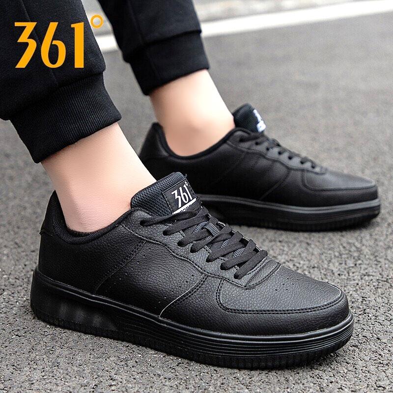 361板鞋男鞋皮面2019秋冬季新款361度正品空军一号黑色运动鞋男士