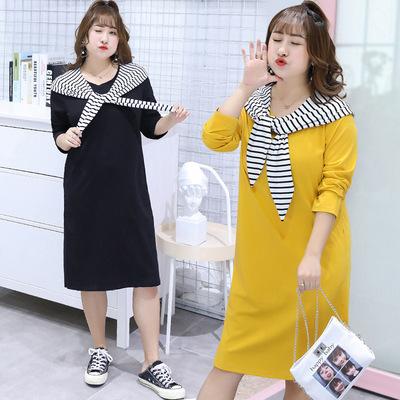 2018秋季新品大码女装200斤4XL休闲两件套连衣裙时尚T恤裙套装