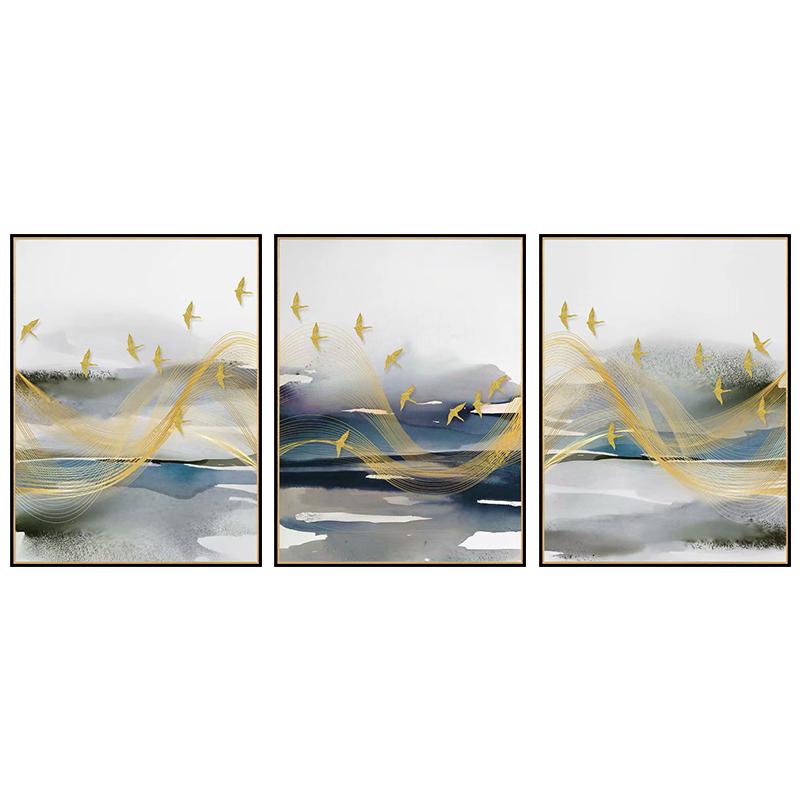 【新品】现代轻奢客厅三联装饰画别墅样板房挂画晶瓷画 南风过境