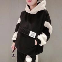 羊羔绒 运动休闲两件套装 潮欧洲站春秋薄款 羊羔毛卫衣女2019新款