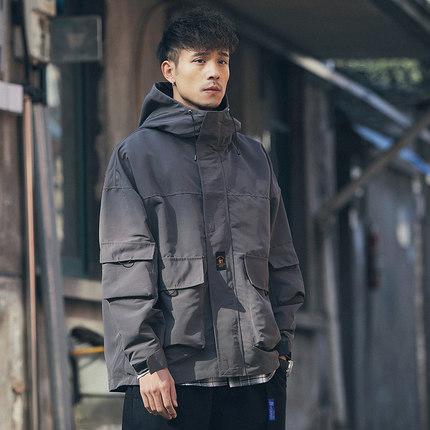 春秋季男士韩版潮流连帽休闲轻薄外套宽松战术服工装夹克上衣潮牌