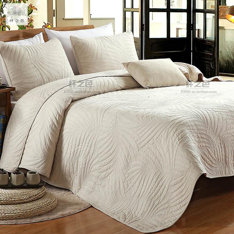 美式纯色衍缝被床盖三件1.8米床单盖被多功能被全棉米色绣花被子