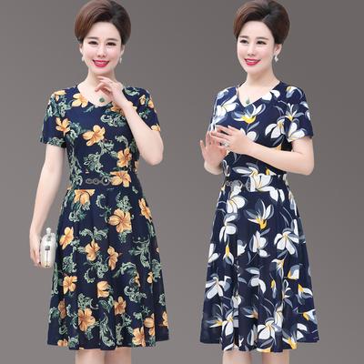 2018新款妈妈夏装短袖连衣裙中长款 40-50岁中老年女时尚过膝裙子