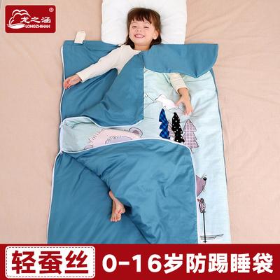 龙之涵宝宝睡袋婴儿秋冬四季通用蚕丝睡袋儿童防踢被春秋中大童