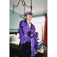 G-WHEN原创设计 亮面绸缎面垂坠宽松OV紫色长袖衬衫薄外套 男女