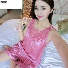 睡衣女夏季丝绸短袖两件套装薄款韩版宽松春秋性感家居服夏天冰丝图片