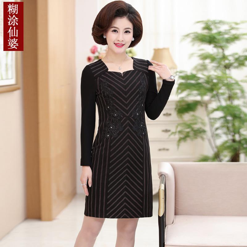中年女秋装洋气连衣裙40岁50中老年春秋气质妈妈装高贵条纹裙子潮