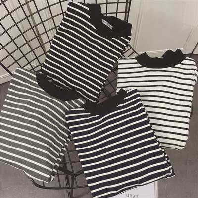 2017新款女长袖秋冬学生条纹韩版百搭中长款上衣黑白条纹打底衫潮
