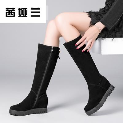 茜娅兰冬季真皮长靴子女磨砂长筒靴骑士靴冬天厚底坡跟高筒靴内增