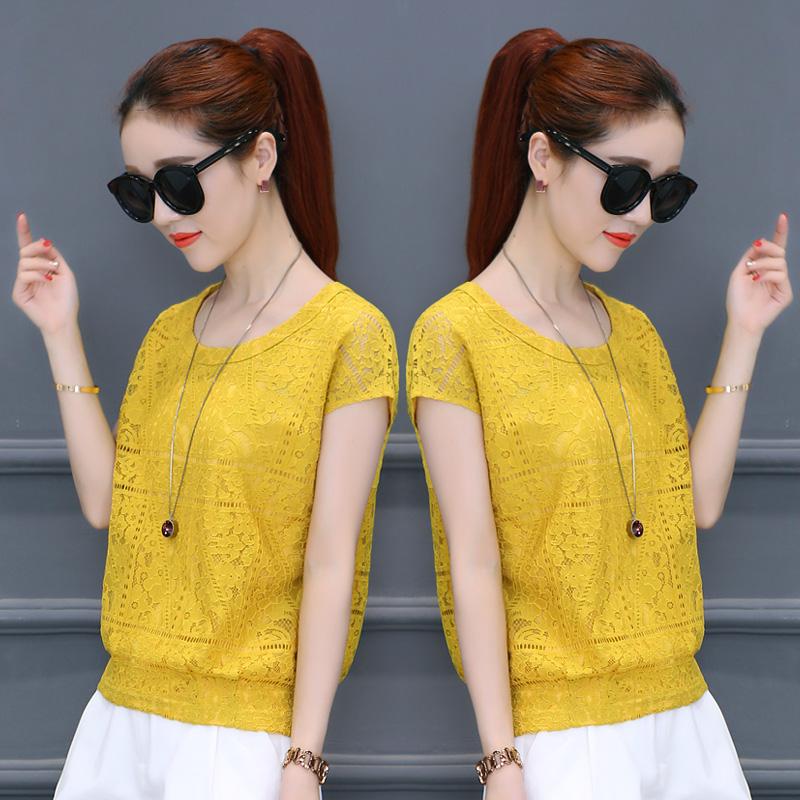 黄色短袖蕾丝