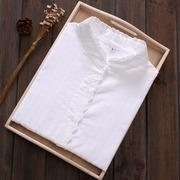 春秋韩版蕾丝花边立领白衬衫女长袖纯棉小清新百搭打底衬衣女上衣