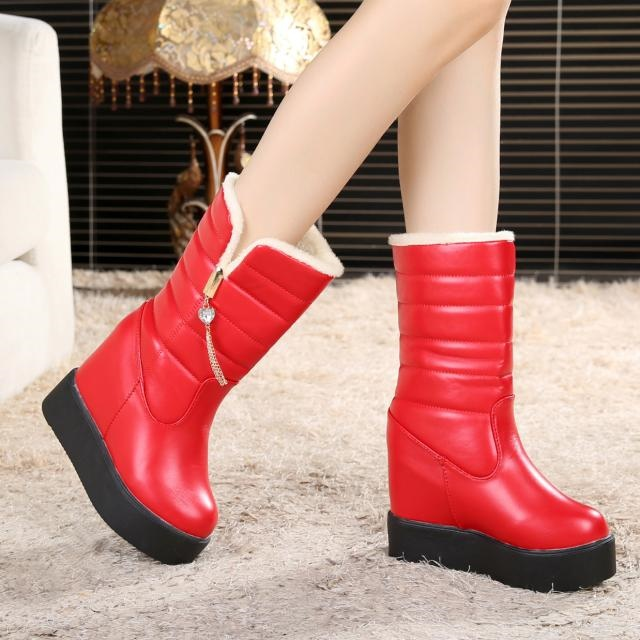 冬季松糕加厚底女鞋坡跟内增高跟中筒短靴子冬天雪地靴加绒冬靴潮