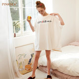 Pinksea Sleeping Skirt Female Cotton Loose Large Size Short Sleeve Graffiti Student Ladies Sleeping Skirt Summer Sleep
