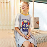 Pinksea nightdress female summer pajamas women's cartoon cute loose large size short-sleeved cotton nightdress female cotton