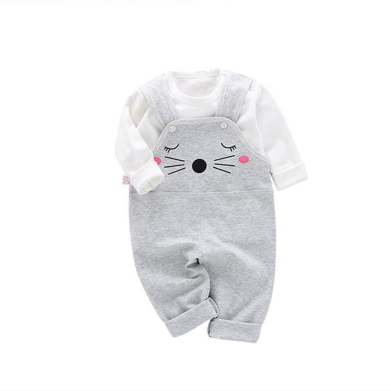 宝宝背带裤套装婴儿衣服两件套1-2岁小童春秋婴儿春装3-5-6-9个月