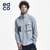 EDCO艾德克 户外男士单层冲锋衣潮流机能外套斜拉链防水8000+
